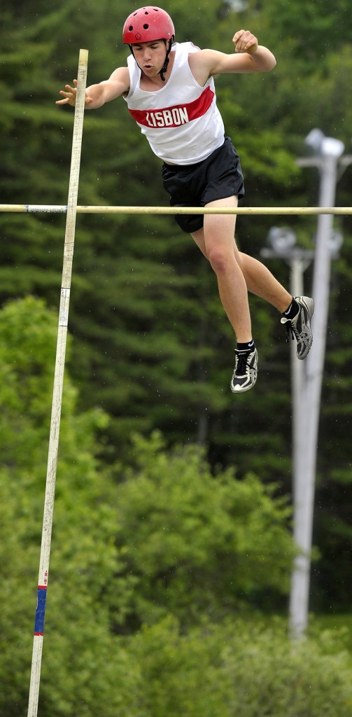 Morgan Reeves of Lisbon clears 11 feet, 6 inches in the pole vault. He went on to win the state championship in 12 feet, 6 inches, a foot higher than anyone else.
