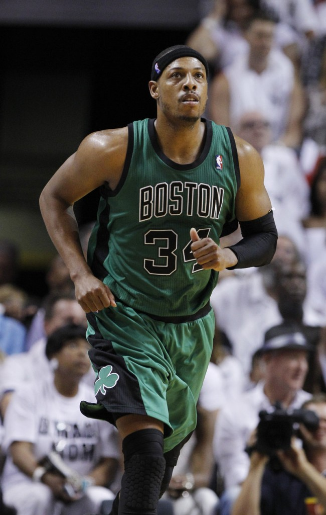 Paul Pierce is showing the gritty determination that has already netted him one NBA title, though he has struggled with foul trouble against the Heat.