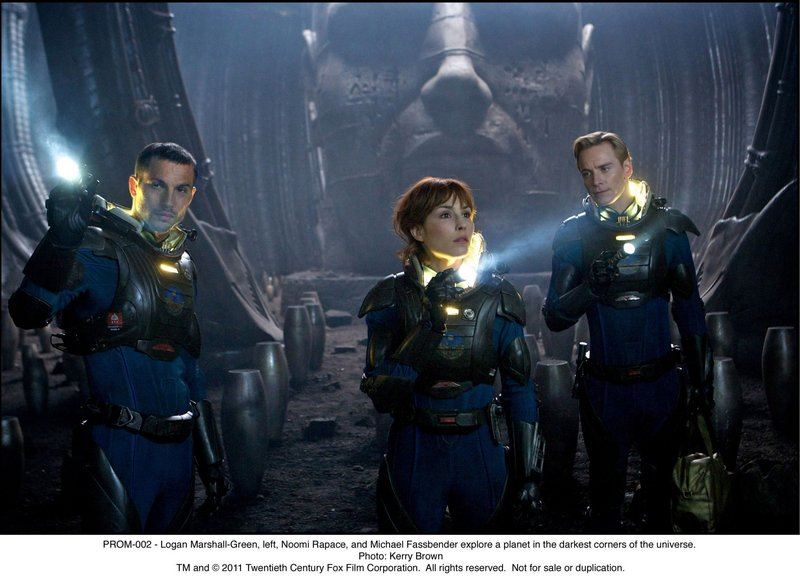"Logan Marshall-Green, Noomi Rapace and Michael Fassbender on the lookout in ""Prometheus."