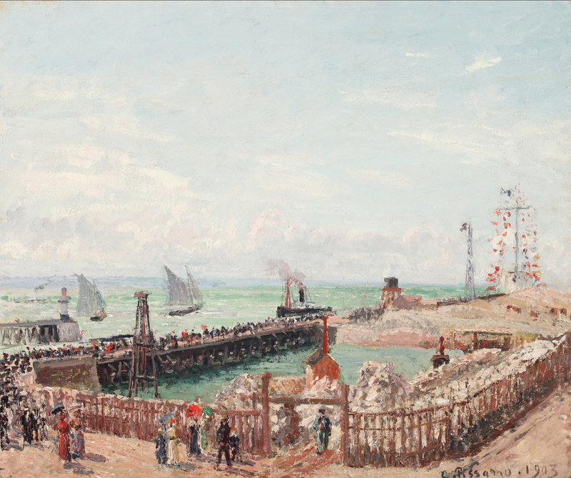 """The Jetty at Le Havre, High Tide, Morning Sun,"" 1903 oil on canvas by Camille Pissarro, from the Portland Museum of Art's upcoming exhibition ""The Draw of the Normandy Coast, 1860-1960."""