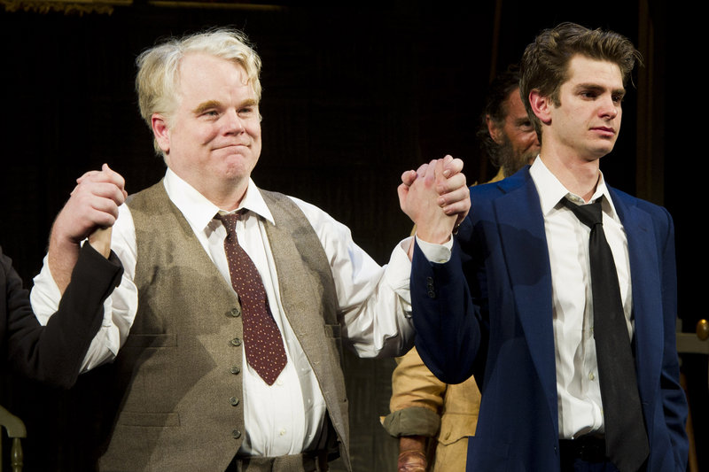 "Philip Seymour Hoffman, left, and Andrew Garfield in ""Death of a Salesman."""