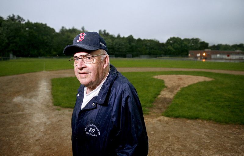 Ron Farr, longtime Little League coach, is shown at the Portland North Little League field. A cookout to mark Ron Farr Day is planned for 4 p.m. today at the field, behind Lyman Moore Middle School.