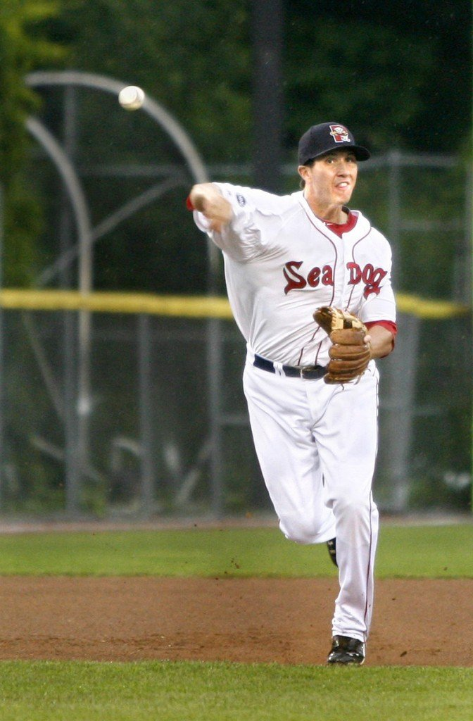 Nick Natoli of the Sea Dogs unleashes a throw to first after fielding a grounder at third base. The Sea Dogs and Richmond play again tonight at Hadlock.