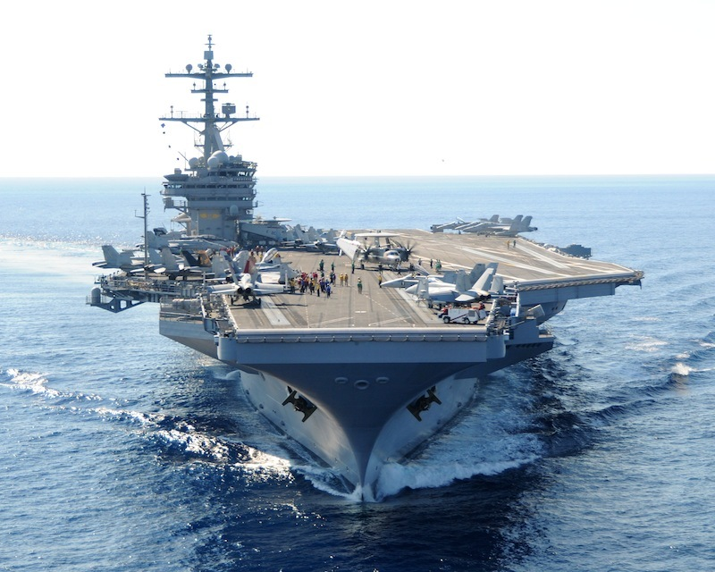 The USS George H.W. Bush is off Maine's coast this weekend.