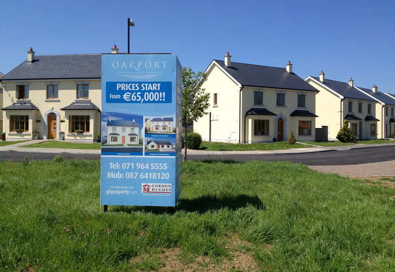 Empty homes in Cootehall's new Oakport development are selling for as little as $81,000. During Ireland's housing bubble, the homes would have sold for well over twice as much.