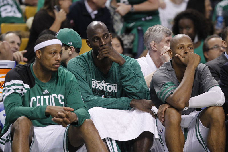Paul Pierce, Kevin Garnett and Ray Allen may have played their last game together after Boston was eliminated from the playoffs Saturday by the Miami Heat.