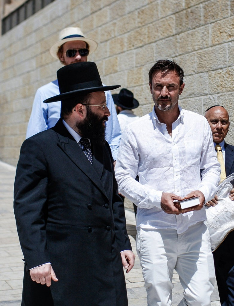 Actor David Arquette, right, celebrates his bar mitzvah in Jerusalem on Monday.