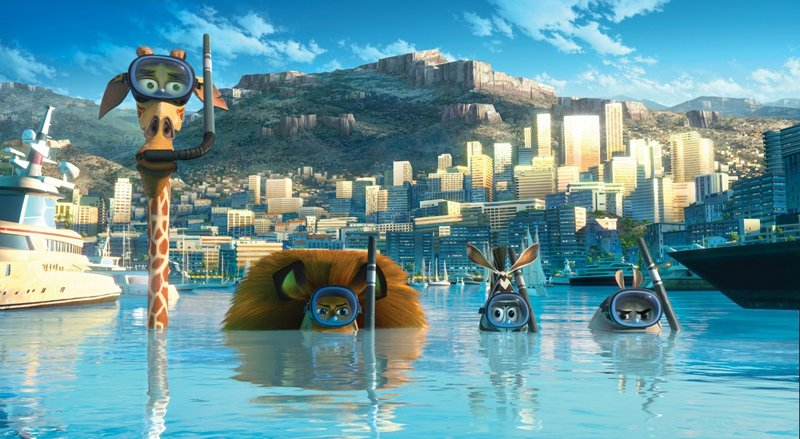 "From left, Melman the giraffe (David Schwimmer), Alex the lion (Ben Stiller), Marty the zebra (Chris Rock) and Gloria the hippo (Jada Pinkett Smith) go undercover in Monaco on a search for the penguins in ""Madagascar 3: Europe's Most Wanted."" The animated sequel is running low on new ideas – but it's funny."