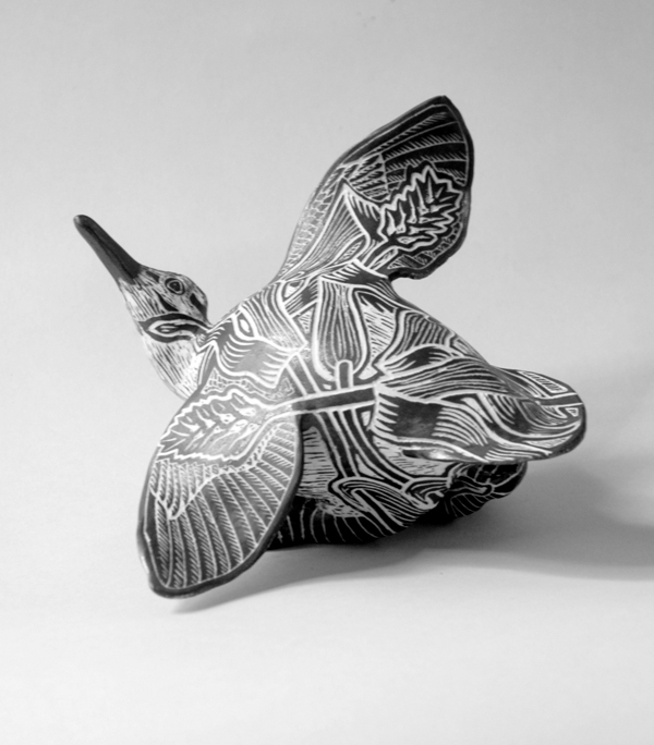 """Animals,"" Tim Christensen's show of drawings on porcelain, including ""Fledgling Woodcock,"" runs through July 28 at Gleason Fine Art in Portland."