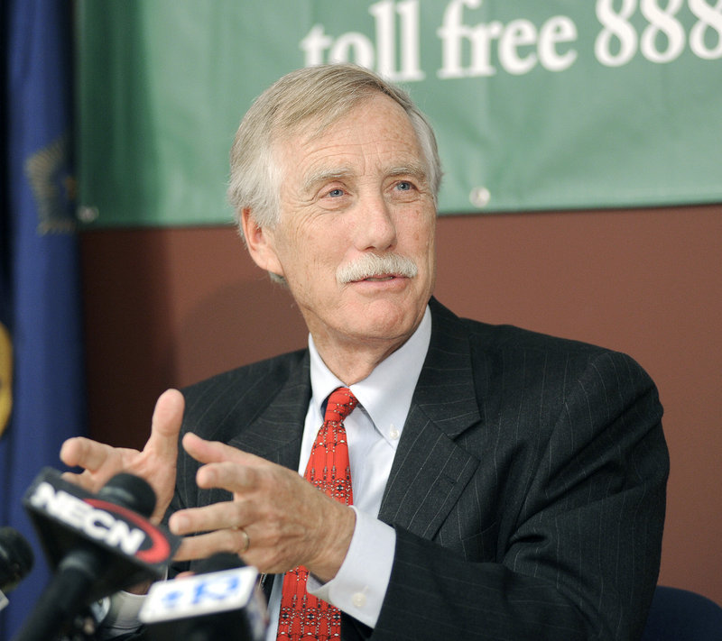 U.S. Senate candidate Angus King holds a news conference Wednesday.