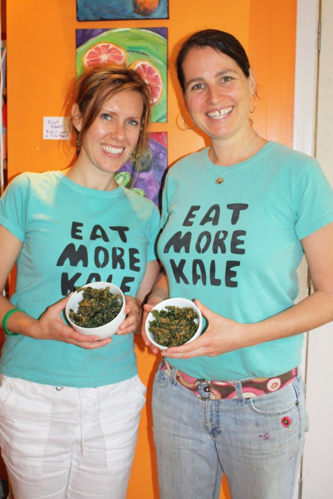 Maggie Knowles, left, and Elizabeth Fraser show off the kale chips from their Kids Gone Raw line of raw, vegan foods.