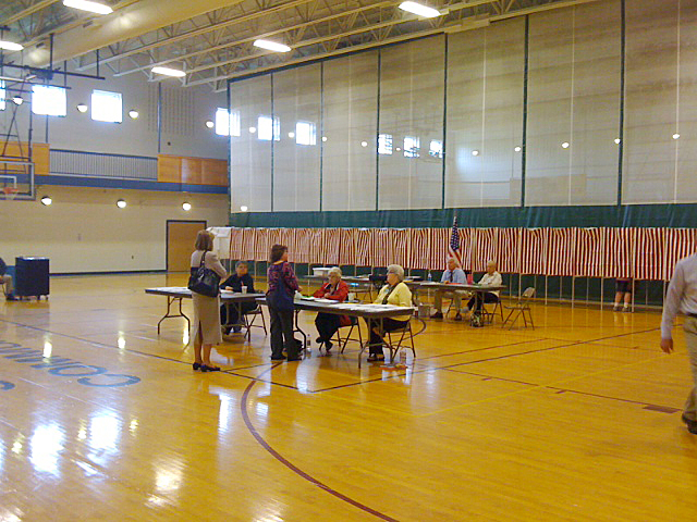 The scene at the South Portland Community Center polling place at lunchtime.