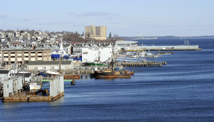 View of the Portland waterfront from the Casco Bay bridge.