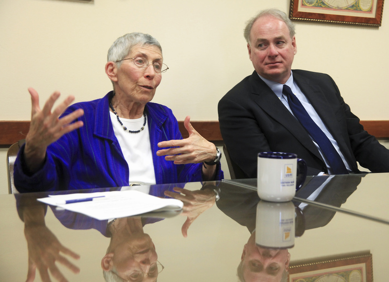 New USM President Theodora Kalikow and University of Maine System Chancellor James Page share an interview in Portland on Tuesday, Kalikow's first day on the job.