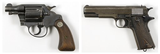 This pair of undated photos provided by RR Auction of Amherst, N.H., show firearms once owned by outlaws and lovers Clyde Barrow and Bonnie Parker. Parker's Colt .38 snub-nose detective special, left, was found taped to her inside thigh with white medical tape after she was shot dead. Barrow's Colt .45, right, was recovered from Barrow's waistband.