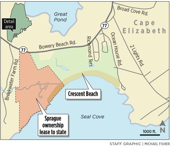 Negotiations have stalled between the state Department of Conservation and the Sprague Corp. on a new lease for much of Crescent Beach State Park. Sprague owns 100 acres of the park's 187 acres. The longtime lease between the parties expires next month. The company is considering operating a park on its own.