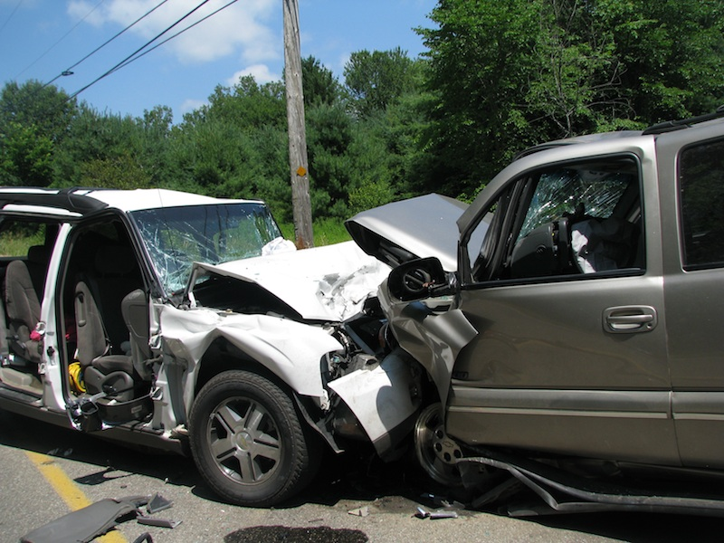 Hill Road was shut down for several hours Monday, July 16, 2012 following a two-vehicle crash that sent six people to the hospital.
