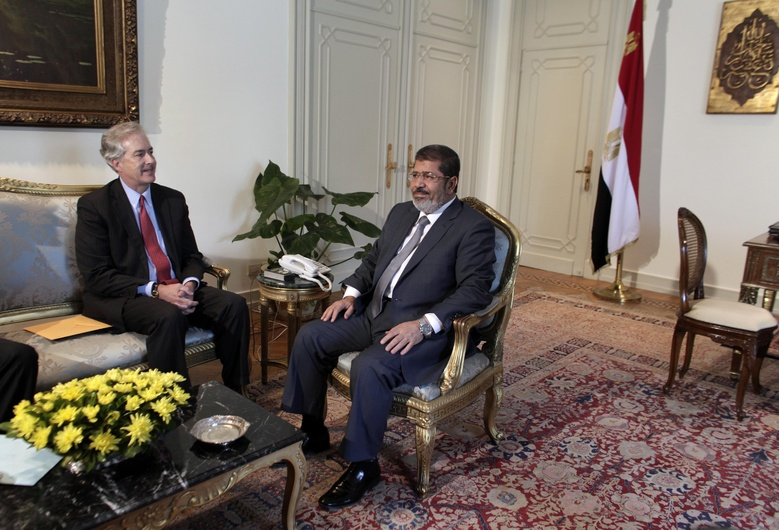 U.S. Undersecretary of State William Burns, left, meets with Egyptian President Mohammed Morsi at the presidential palace in Cairo on Sunday.