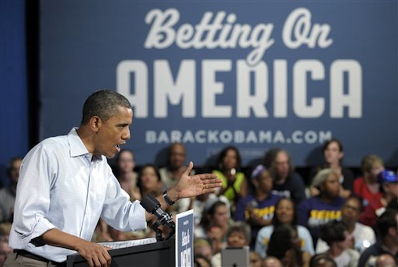 President Barack Obama speaks at Dobbins Elementary School in Poland, Ohio, Friday, July 6, 2012. (AP Photo/Susan Walsh)