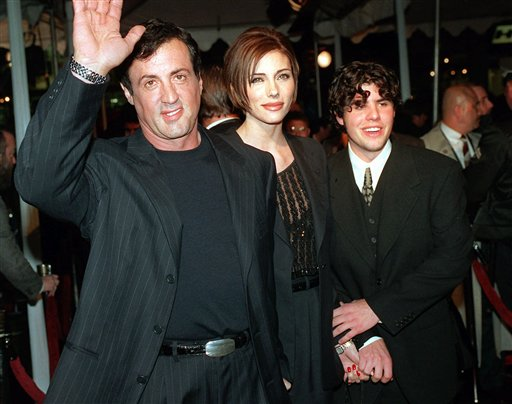 In this Dec. 5, 1996, file photo, Sylvester Stallone, left, star of the film