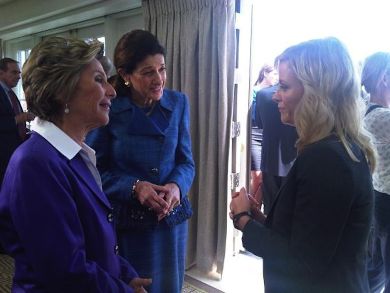 U.S. Sen. Olympia Snowe, R-Maine, chats with comedian/actress Amy Poehler and U.S. Sen. Barbara Boxer, D-California, after filming a segment for Poehler's NBC television show