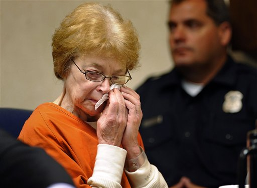 Defendant Sandra Layne breaks down crying during the playing of the 911 call made by her grandson Jonathan Hoffman as the tape is introduced as evidence during a hearing Monday in Bloomfield Hills, Mich. Layne is accused of repeatedly shooting Hoffman on May 18 at the condo that she and her husband shared with the 17-year-old boy. Her attorneys say she acted in self-defense.