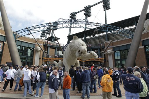 This April 5, 2012 file photo shows fans outside Comerica Park before a baseball game between the Detroit Tigers and Boston Red Sox, in Detroit. Comerica Park is the latest Detroit landmark to be the subject of a bomb threat. Police say an anonymous caller issued the threat in a 911 call around 8 p.m. Tuesday, July 17, 2012, as the Tigers were hosting the Los Angeles Angels in front of 34,000 fans. (AP Photo/Carlos Osorio, File)