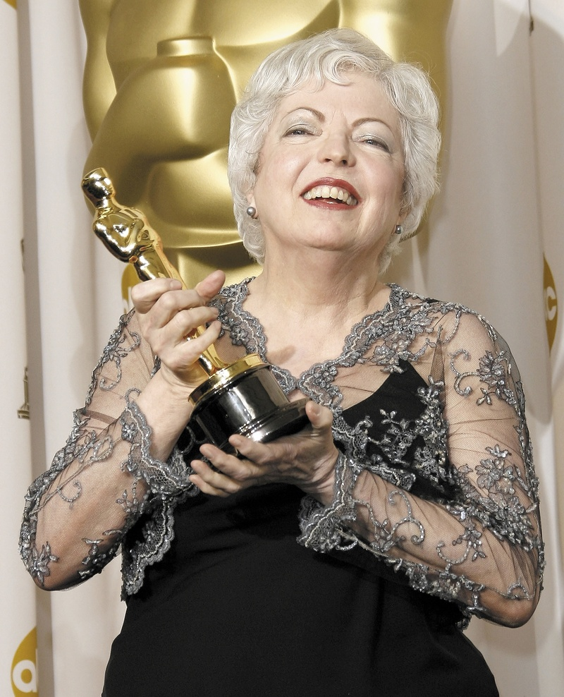"""Thelma Schoonmaker, shown with the Oscar she won for editing """"The Departed"""" in 2007, will be honored this month at the Maine International Film Festival."""