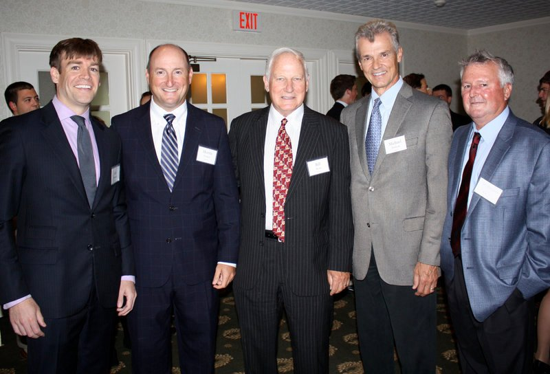 Alec Porteous, state office representative for Sen. Susan Collins, Morris Fisher, president of CBRE-Boulos Property Management, Bill Ryan, retired chairman of TD Bank, Michael Dubyak, president and CEO of Wright Express, and George Hogan, chief information officer for Wright Express.