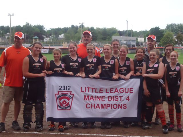 The Biddeford Little League softball all-stars qualified for the state tournament by winning the District 4 championship. Team members, from left to right: Brook Davis, Ailaina Keely, Jordan Boucher, Grace Martin, Lillie Donovan, Alex Chase, Katie Stewart, Chantel Gagnon, Gabby Smith, Hailey Kendrick and Kristen Thompson. Coaches, left to right, are Andy Donovan, Scott Stewart and Steve Martin.