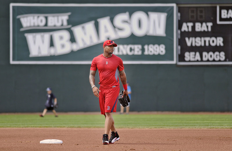 Carl Crawford, working out at Hadlock Field Monday, is likely to accompany the team on a three-game road trip to Manchester, N.H., after tonight.