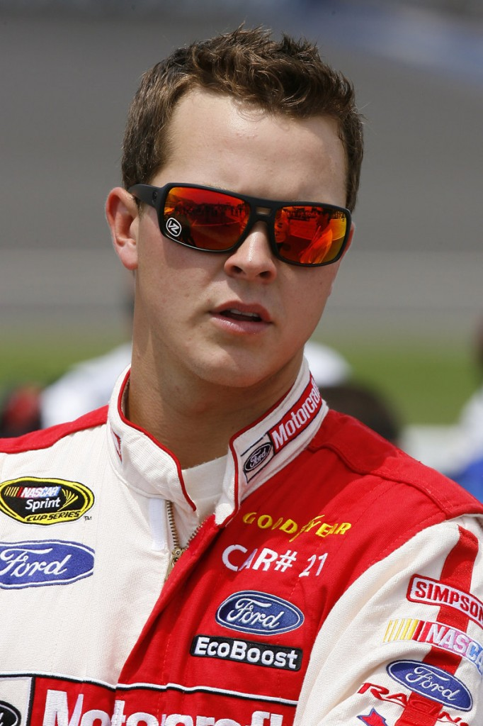 Trevor Bayne watches the Sprint Vision screen uring qualifying for the NASCAR Sprint Cup Series Quicken Loans 400 auto race at Michigan International Speedway in Brooklyn, Mich., last month.