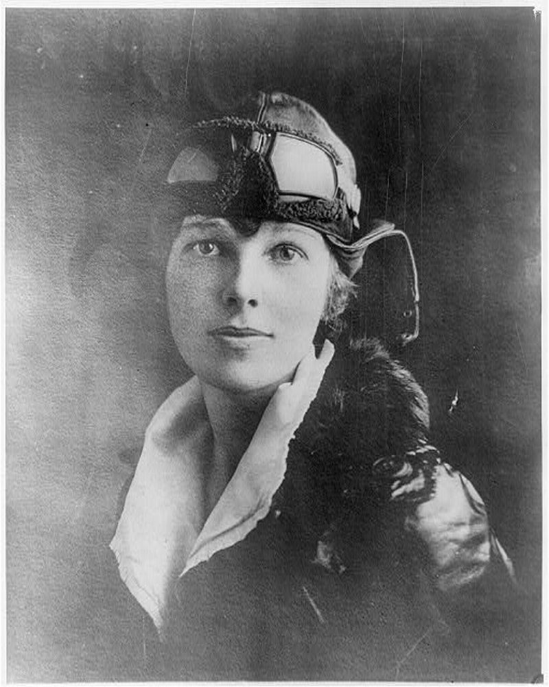 Amelia Earhart wears a leather helmet with goggles and a fur-collared leather coat in this undated photograph.