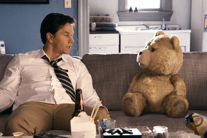 "Mark Wahlberg and his buddy in ""Ted."""