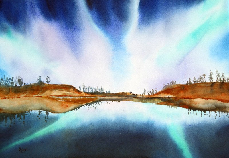 """Northern Lights IV"" by Jean Kigel, from ""Of Solar Flares and Northern Lights,"" her show of watercolors and Asian brush painting at Archipelago in Rockland."
