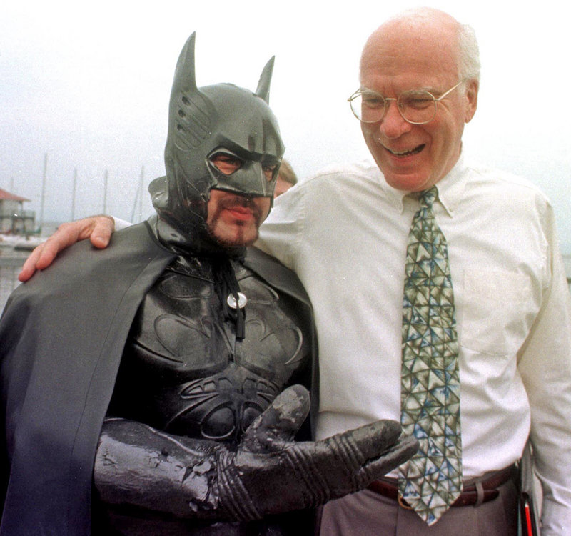 "Sen. Patrick Leahy, D-Vt., jokes with ""Batman,"" also known as Ryan LeBlanc, in Burlington, Vt., in 1998. Leahy will appear in the next ""Batman"" movie."
