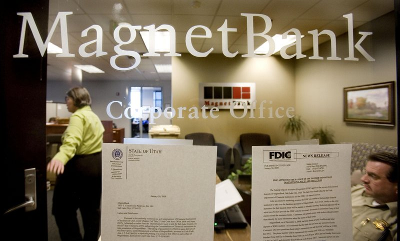MagnetBank in Salt Lake City was one of 140 U.S. banks that failed in 2009. That number fell to 92 last year, and so far this year 31 have closed in the U.S.