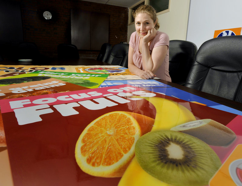 Chanda Turner, health coordinator for Portland schools, is losing her job along with 30 others around the state because the state Department of Health and Human Services cut funding for the positions. Posters in the foreground were part of teaching about healthy eating.