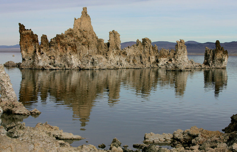 A photo shows Mono Lake near Lee Vining, Calif. In 2010, scientists reported that bacteria from the lake could thrive on arsenic instead of the usual elements needed to sustain life. Now two new studies cast doubt on those results.