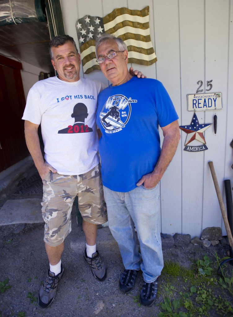 """Jim Ready, left, and U.S. Rep. Barney Frank, D-Mass., relax at their home in Ogunquit on Monday. The two were married in Newton, Mass., on Saturday. """"We did it because we're in love and we want to be with each other,"""" Frank said."""