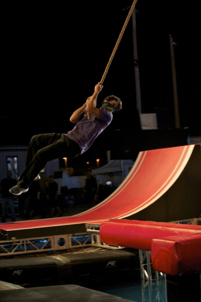 """Jesse Villareal attempts to complete an obstacle course during the """"American Ninja Warriors"""" finals competition in Las Vegas, Nev."""
