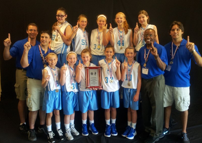 Members of the YES! fifth-grade girls' basketball team, which won its bracket at the AAU national championships, from left to right: Front row – Isabel Dawson of Portland, Catherine Reid of Brunswick, Mackenzie Emery of Limington, Meghan Hoffses of Windham, Lucy Leen of North Yarmouth, head coach Dudley Davis and assistant coach Eric Dawson; Back row – Assistant coaches Lennie Holmes and Bob Emery, Mackenzie Holmes of Gorham, Claire Brady of Yarmouth, Meg Kelly of Portland, Julia Martel of Westbrook, and Mandy Mastropaqua of Portland.