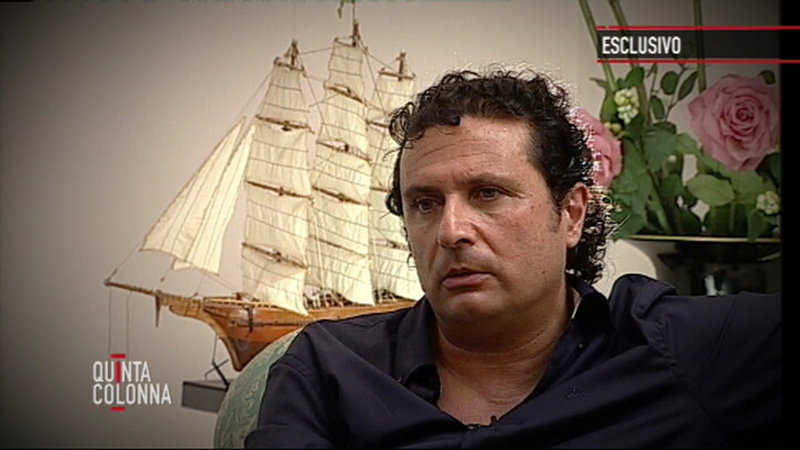 """Francesco Schettino, captain of the Costa Concordia, is seen during an exclusive interview on Italian TV's """"Quinta Colonna"""" program that aired on Tuesday."""