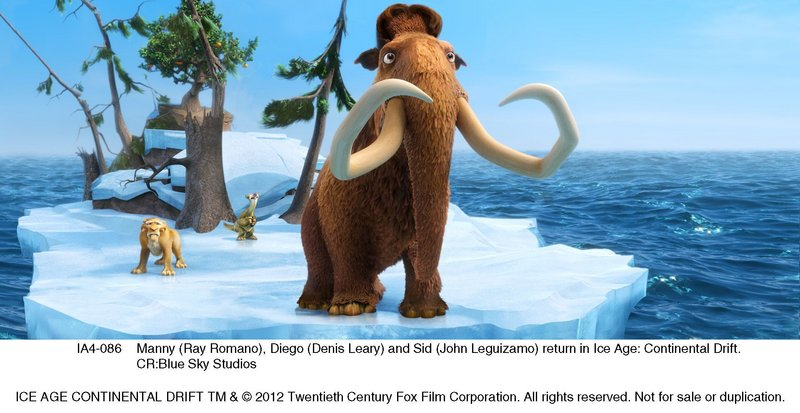 "Manny (Ray Romano), Diego (Denis Leary) and Sid (John Leguizamo) return for new misadventures in ""Ice Age: Continental Drift."""