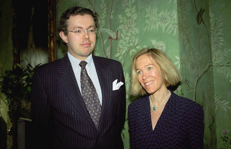 Eva Rausing and her husband, Hans Kristian Rausing, attend the Glamour America Fashion Show and lunch in 1996 at the residence of the U.S. ambassador to the United Kingdom.