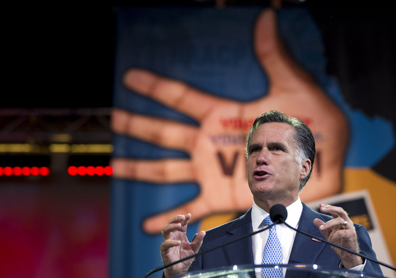 "Republican presidential candidate Mitt Romney addresses the NAACP Wednesday in Houston. Said a critical NAACP Chairman Emeritus Julien Bond: ""He wasn't speaking to us."""