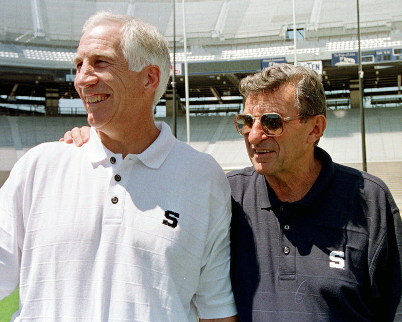 A report by former FBI director Louis Freeh says football coach Joe Paterno, right, and other officials covered up abuse allegations against Jerry Sandusky, left, for decades.
