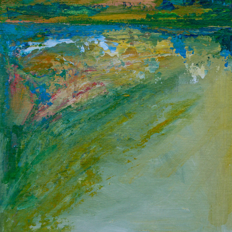 "Sarah Gorham's ""Pond Light"" is a study in mostly greens and blues."