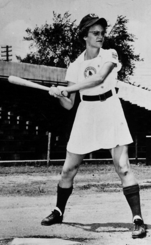 "Doris Sams, shown around 1950-1953, was an outstanding athlete even before she became a leading player for the Kalamazoo Lassies. At age 9, ""Nobody in the neighborhood could outrun her,"" says a cousin."