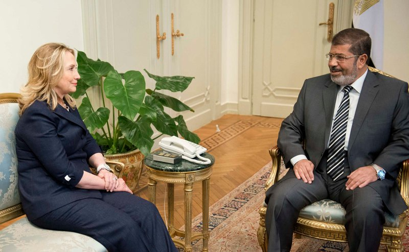 Secretary of State Hillary Rodham Clinton meets with Egyptian President Mohammed Morsi at the presidential palace in Cairo on Saturday.